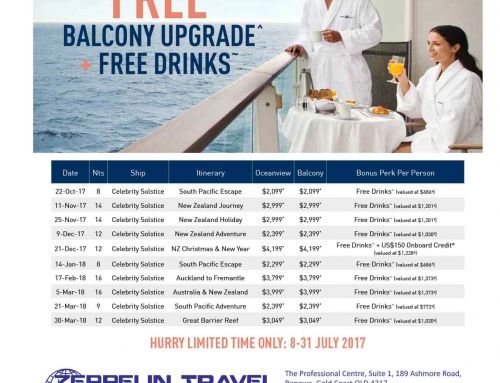 Celebrity Solstice – Free Balcony Upgrade + Free Drinks  (LIMITED TIME ONLY)