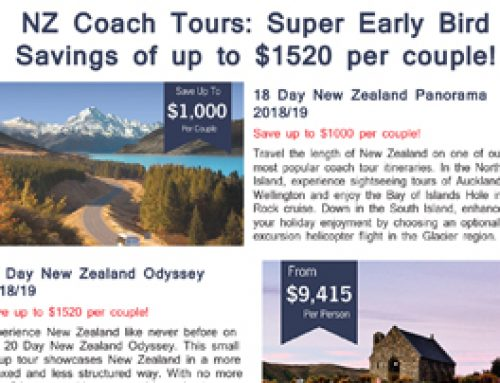 NZ Coach Tours: Super Early Bird Savings of up to $1520 per couple!