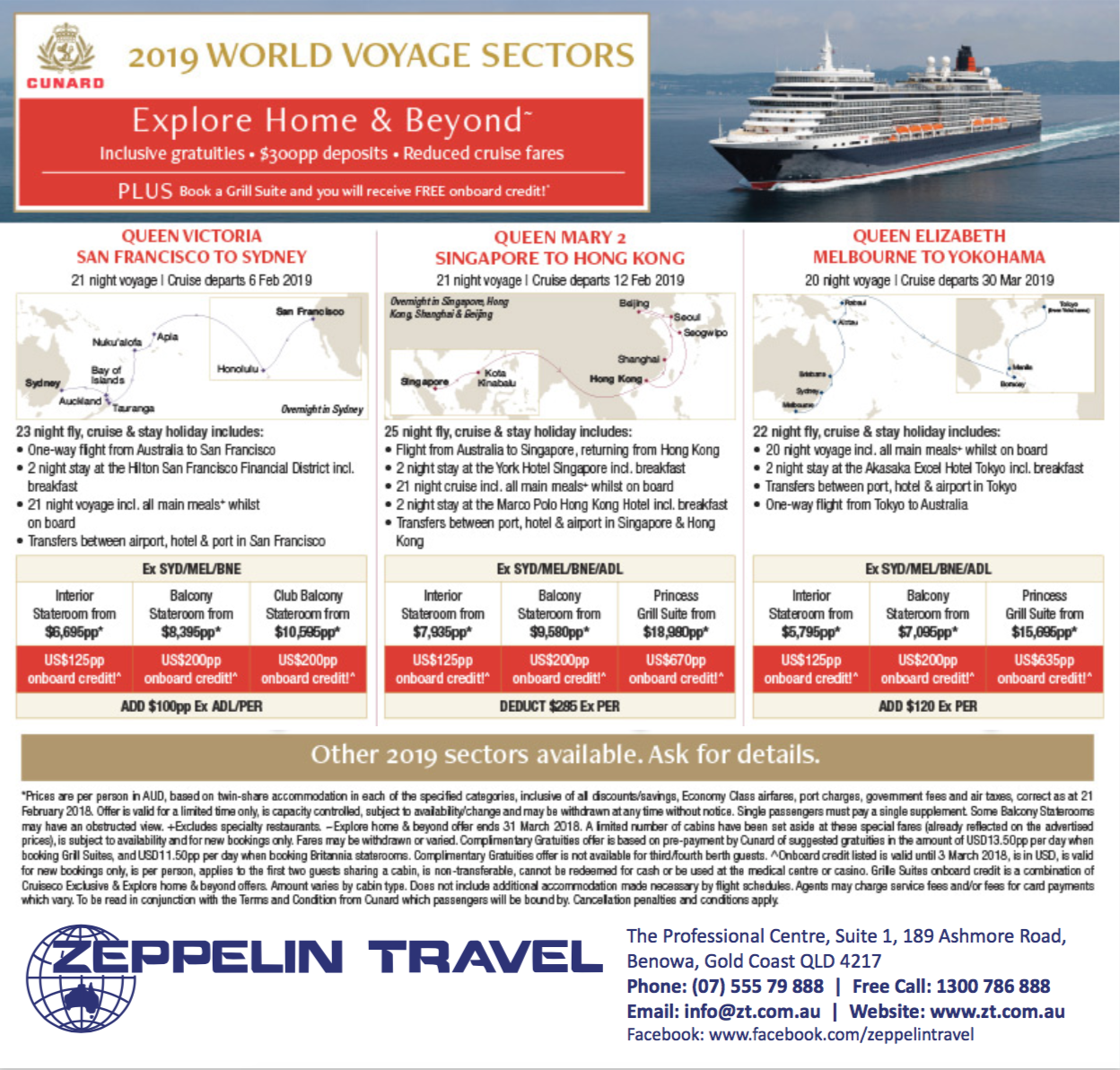 2019 World Voyage Sectors