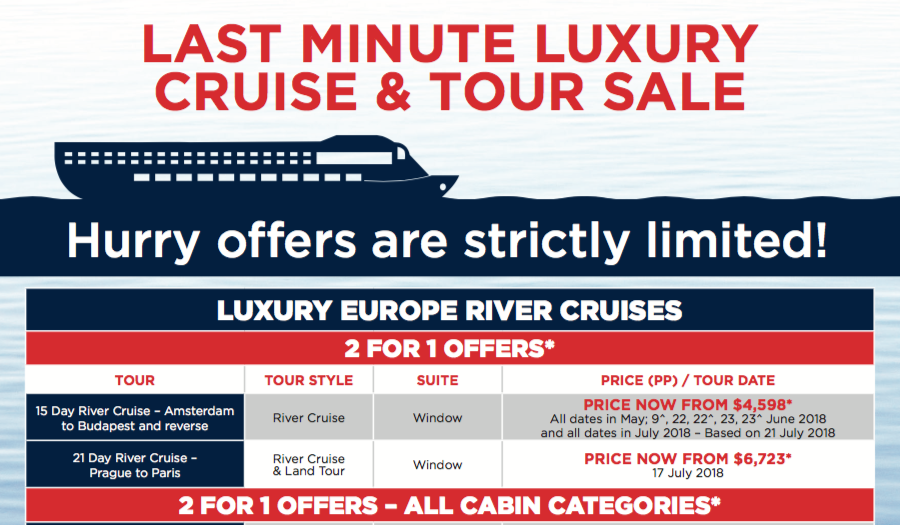 Luxury cruise and tour sale feature