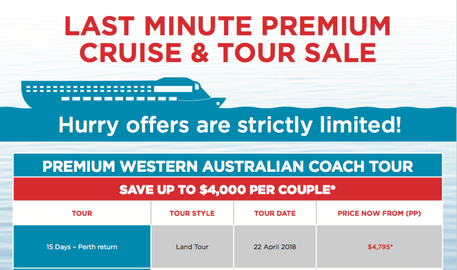 Premium cruise and tour sale feature