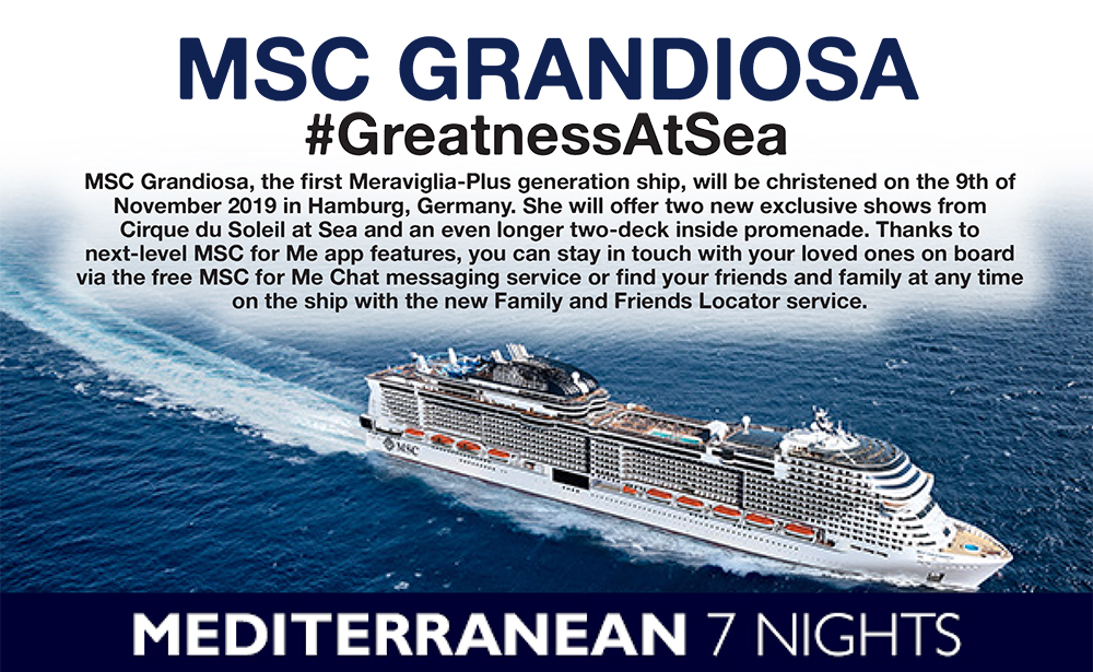 MSC Grandiosa: Save up to $200 per cabin – ZeppelinTravel