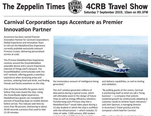 The Zeppelin Times 4CRB Travel Show, Saturday 7 September 2019, 10am on 89.3FM